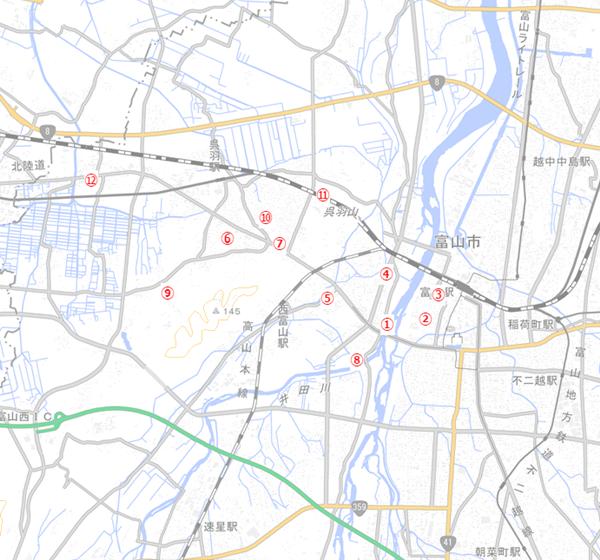 居住推進地区内外の調査地点